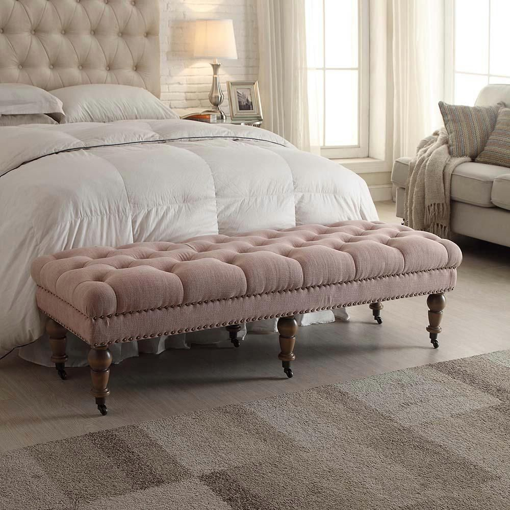 Bedroom Furniture Benches Narrow Isabelle Washed Pink Bench The