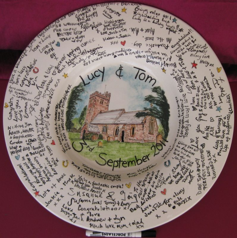 Messages of Love on a Signing and Signature plate. Glazed ceramic pottery personalised with a glass/oven pen. & Galleries | Home Images. Signing plate rather than a ordinary guest ...