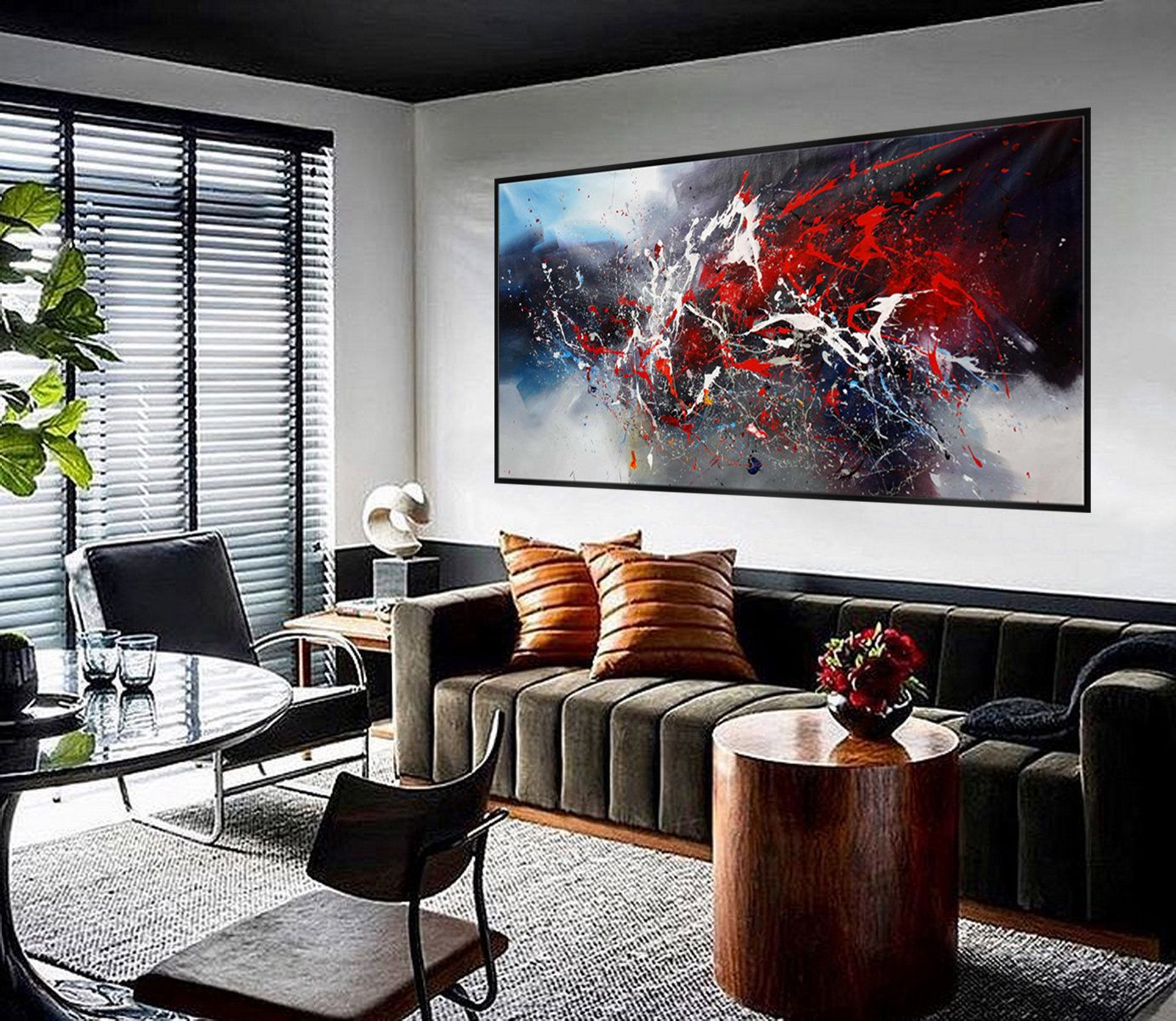 Black Red Colorful Acrylic Abstract Art Work Extra Large Modern Living Room Wall Decor Artwork Painting 48x96 120x240cm Living Room Art Room Wall Decor Living Room Paint #red #paintings #for #living #room
