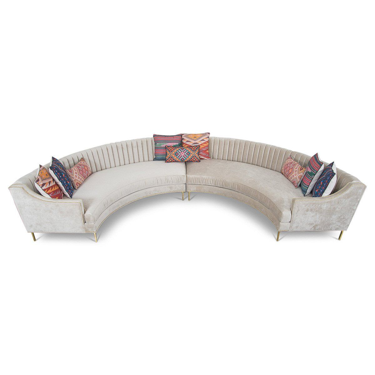 Circle Sectional in Brussels Pearl Velvet | Circle sofa ...