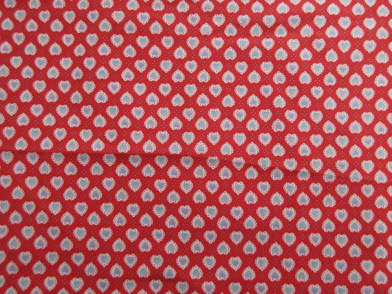 """Lacy Heart Fabric - Red White Lace Hearts  - Quality Cotton  - 21"""" x 44"""" only"""