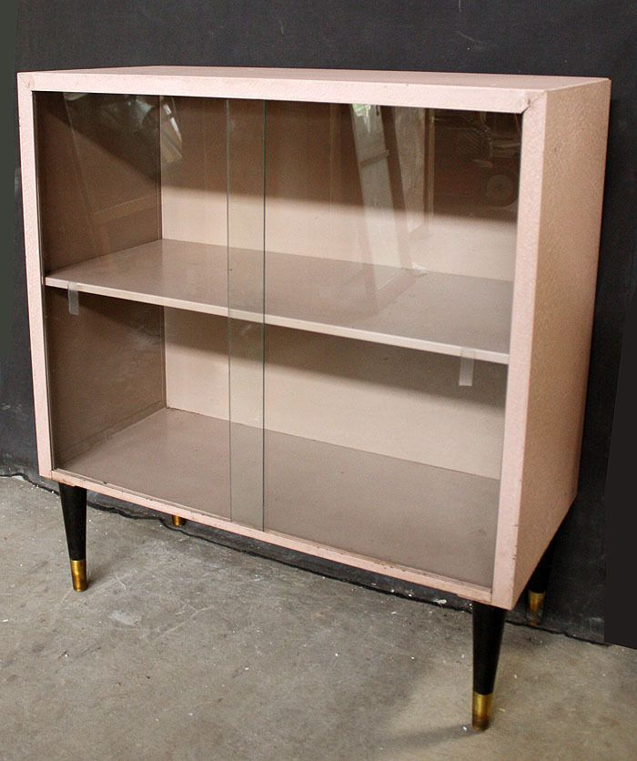 Vintage Antique Metal Storage Cabinet Shelf Bookcase Case Sliding Gl Doors Midcenturymodern Sanduskymetalproducts Kitchen