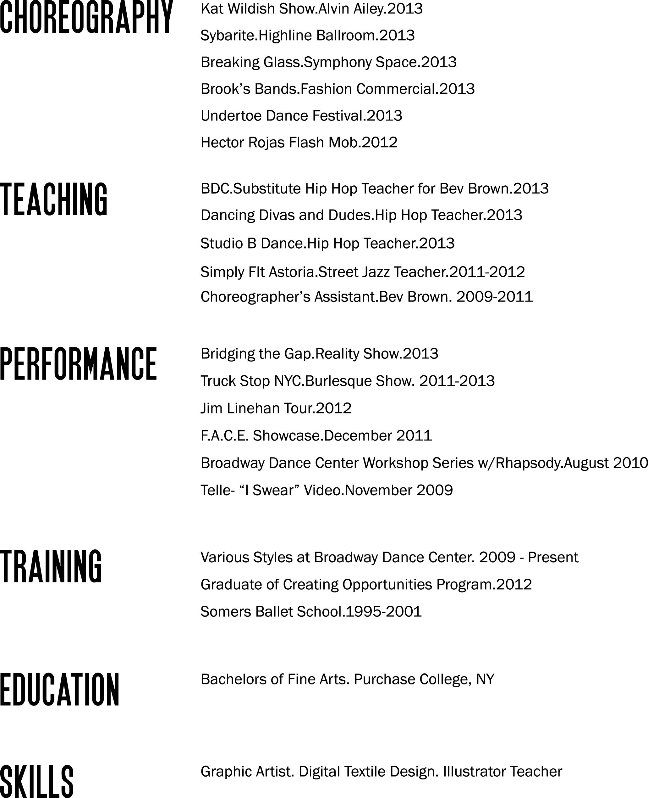 Bad Layout But Good Reminder Of What To Put On A Dance Resume And How Separate Education Training
