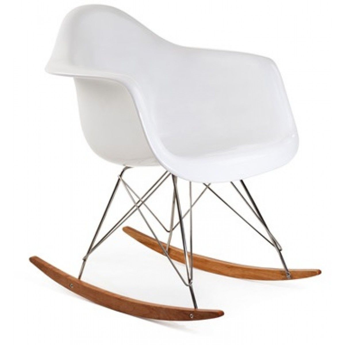 Eames Style Rar Molded White Plastic Rocking Chair With Steel