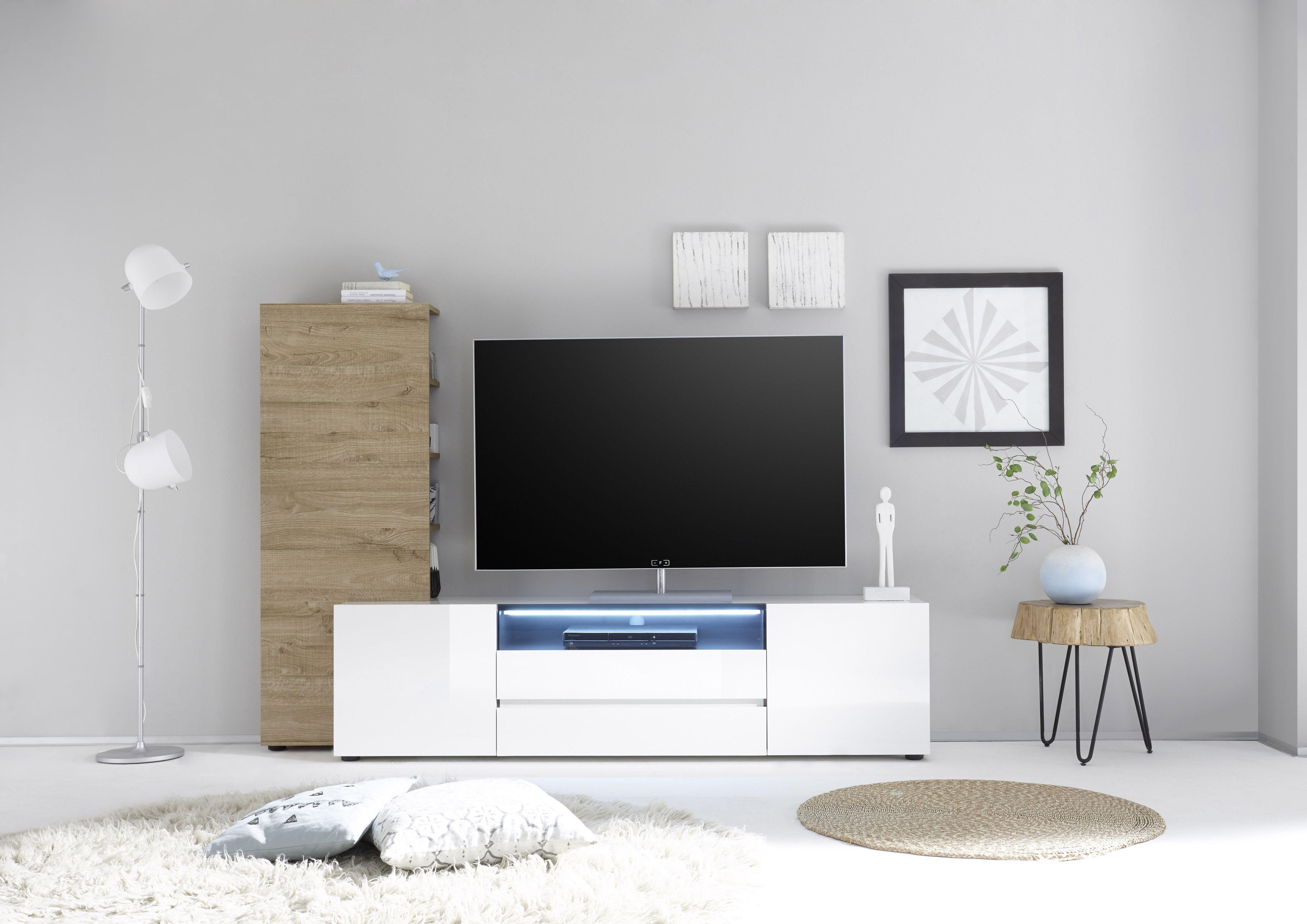 Tv Lowboard Mit Regal Weiss Hochglanz/ Eiche Natur Woody 41 02616 Holz  Modern Jetzt Bestellen Unter: Https://moebel.ladendirekt.de/wohnzimmer/tv Hifi Moebel  ...