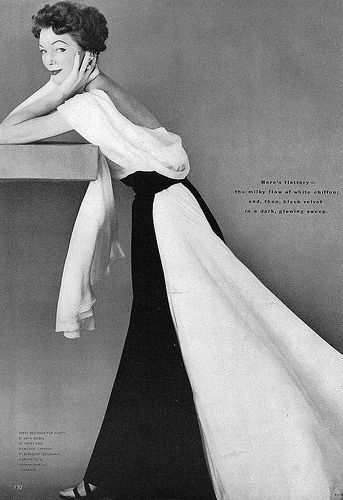 Ivy Nicholson in beautiful evening gown of white chiffon and black velvet designed by Jean Desses for Nantes, photo by Richard Rutledge, Vogue Sept. 1952