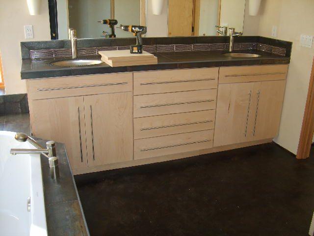 maple bathroom vanity with dark countertop | Maple ... on Bathroom Ideas With Maple Cabinets  id=27439
