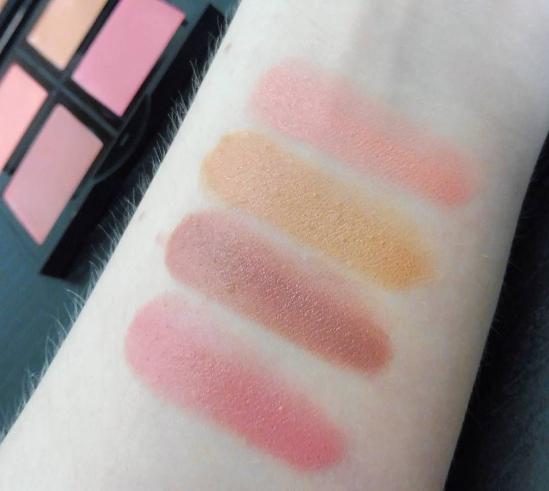And Here Are Some Swatches Of The Elf Cream Blush Palette In The