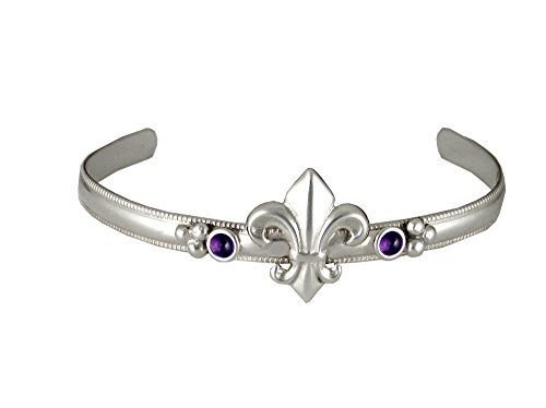 Sterling Silver Fleur De Lis Bracelet With Amethyst Handmade In America Other Stones Available Click Image For More Details