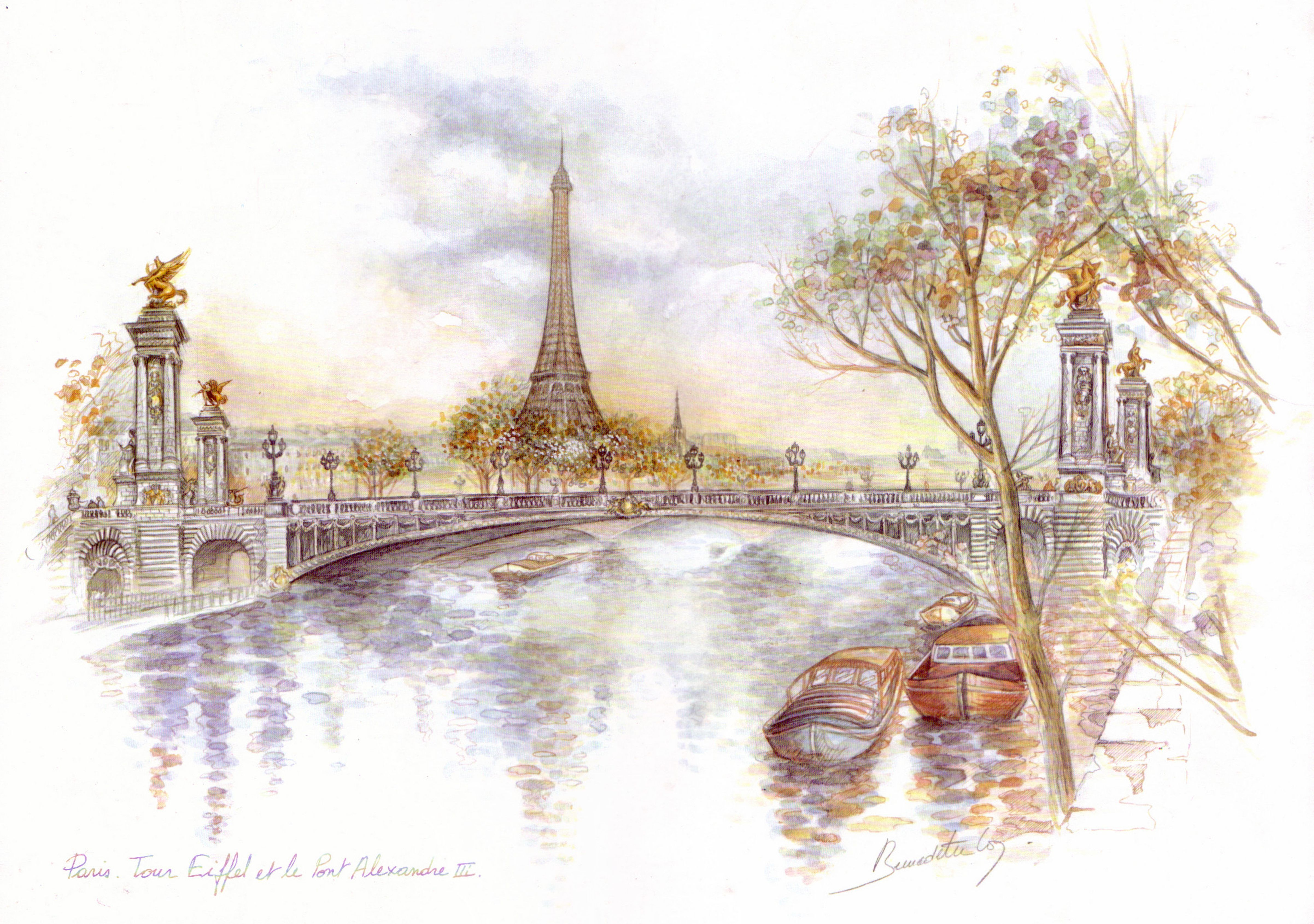 Обои Эйфелева башня, рисунок. Города foto 10