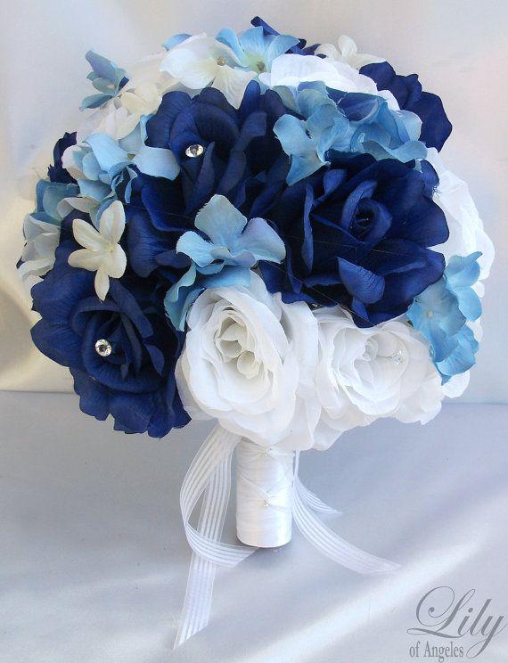 17 Pieces Package Silk Flower Wedding Decoration Bridal Bouquet DARK ...