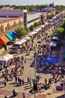 Farmers Market looking Down College Avenue from the top of