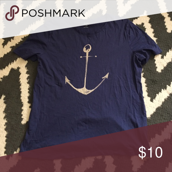 New Anchor T-Shirt Blue with light gray anchor. Never worn. Smoke and pet free. Old Navy Tops Tees - Short Sleeve