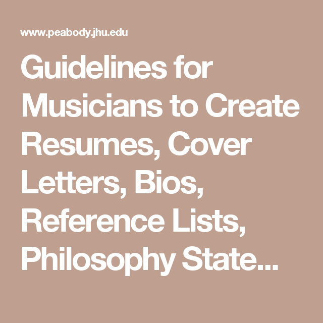 musicians resumes