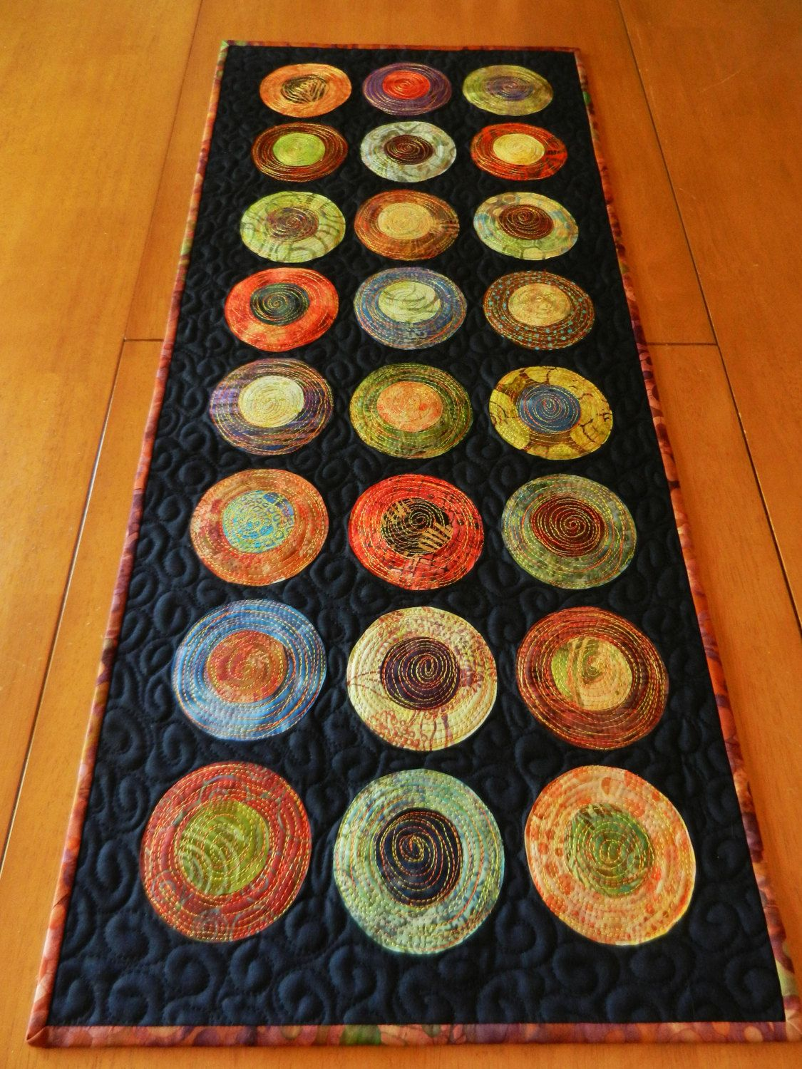 Modern Table Runner Batik Circle Table Runner Quilted Table Runner Art For Your Table Also Makes A Great Wall Hanging Made To Order Modern Table Runners Table Runners Circle Table