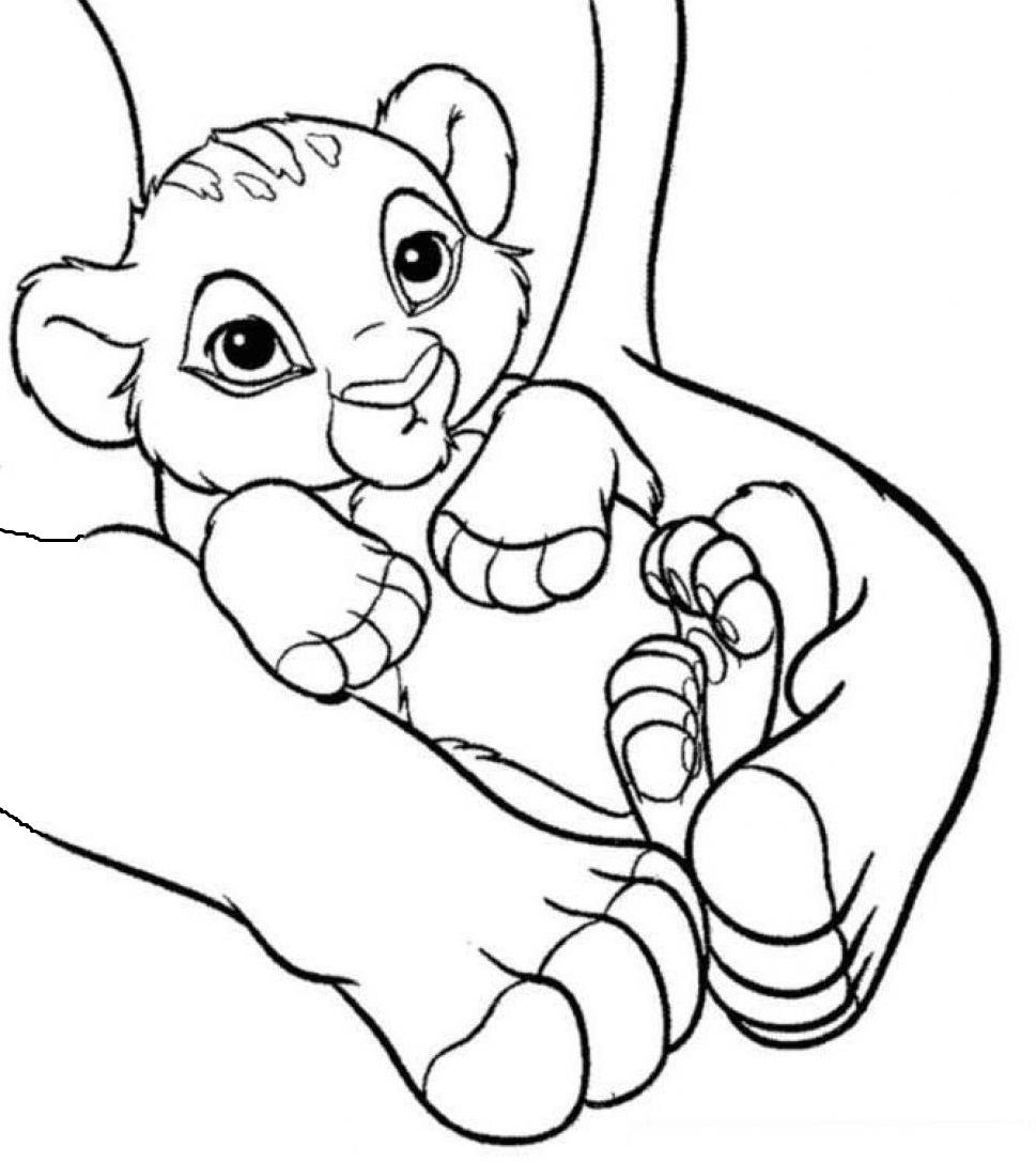 Free coloring pages lion king - Baby Simba The Lion King Coloring Pages For Kids Printable Lions And Tigers Coloring Pages For Kids