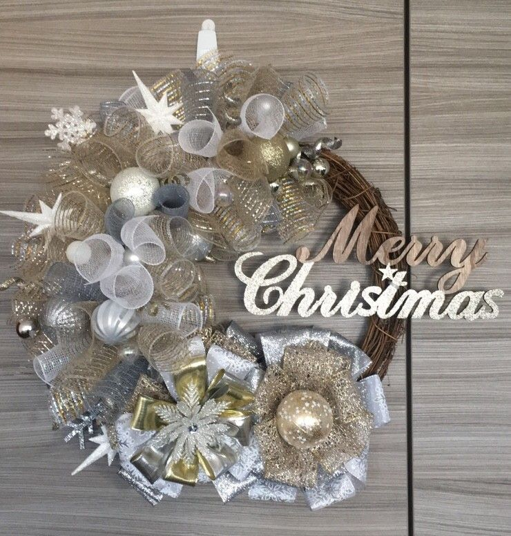 Gold And Silver Wreath Mix Of Ribbons And Deco Mesh Silver Christmas