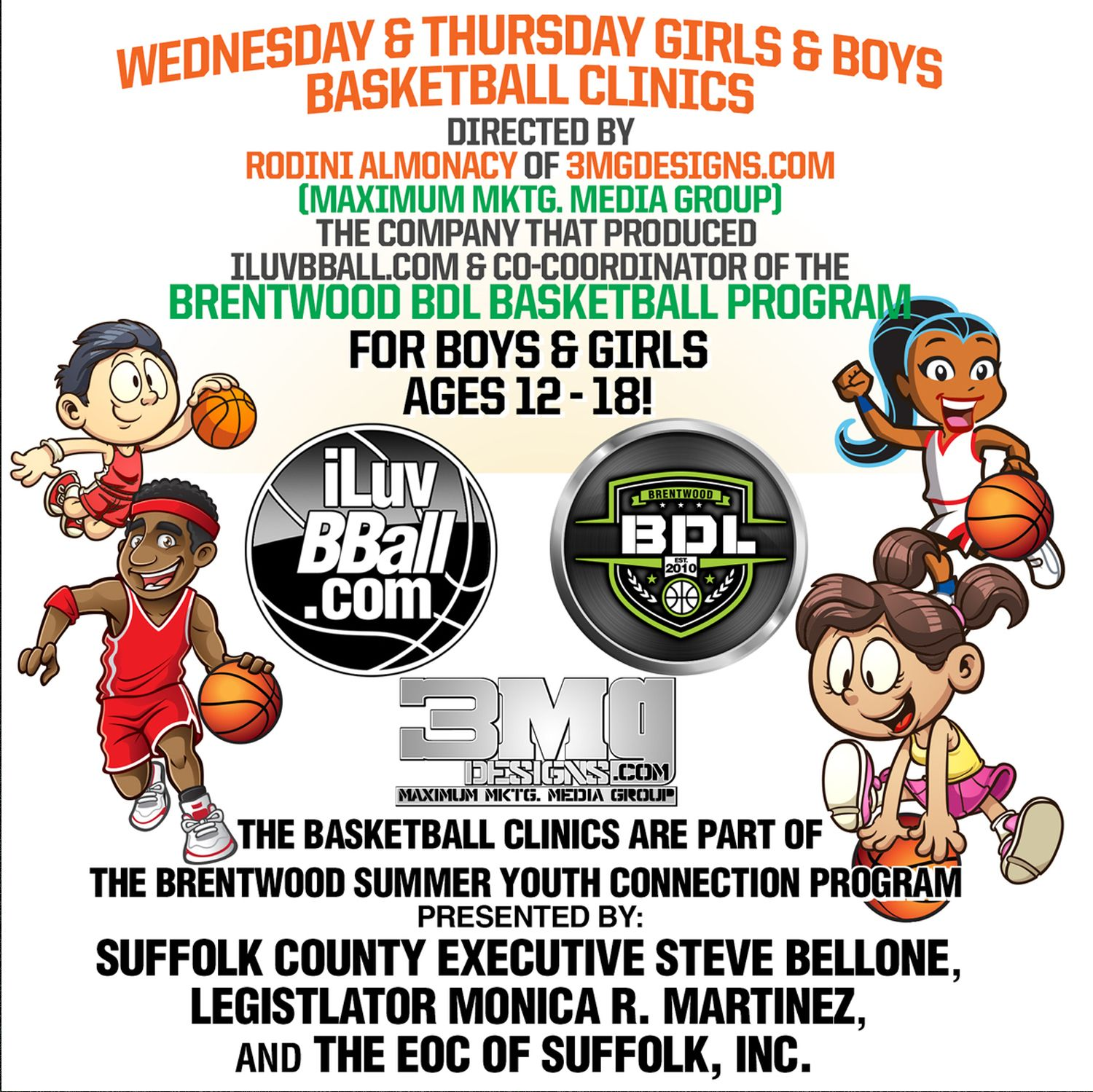 In accordance with our commitment to helping the children in our communities, iLuvBBall.com would like to present       CALL CALL NOW for more info 631-853-8270 or 631-492-1404 ext. 627 program runs from July 11th through August 18th! locations is: South Middle School  785 Candlewood Rd. Brentwood, NY 11717 REGISTER NOW SPOTS ARE LIMITED!
