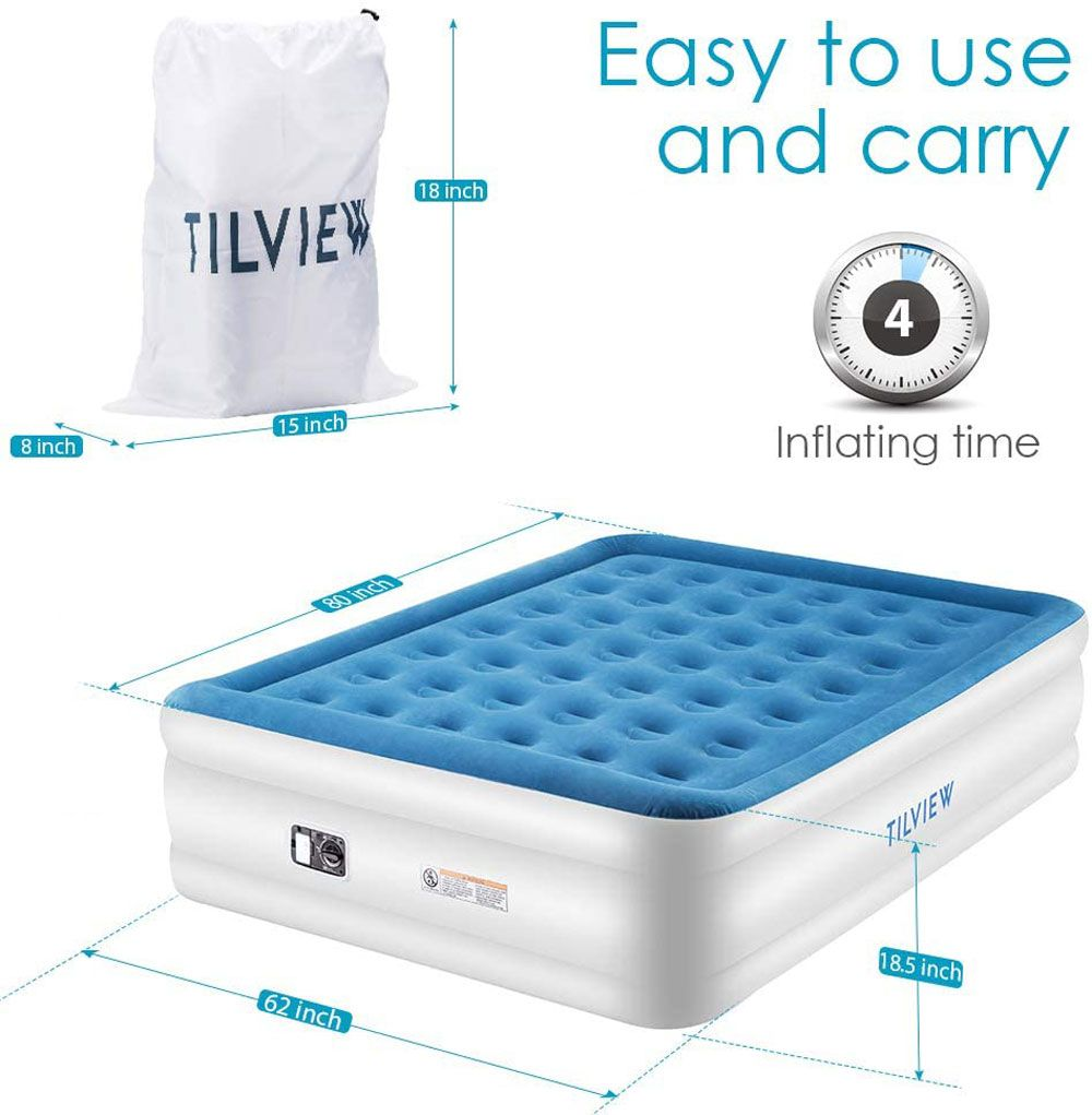 Tilview Queen Size Air Mattress Blow Up Elevated Raised Air Bed Inflatable Airbed With Built In Electric Pump Storage Bag And R