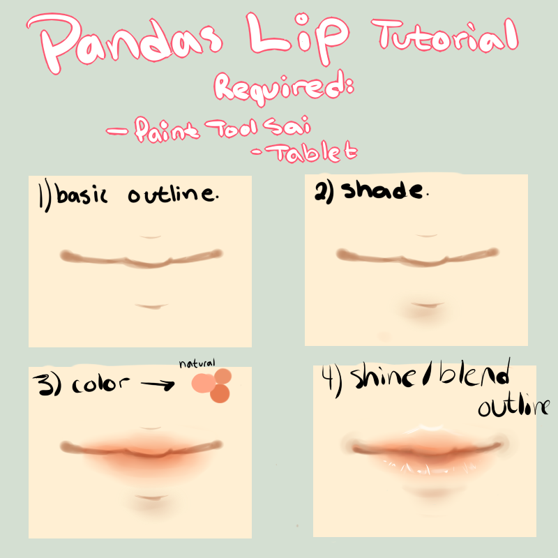 Smiling lips drawing step by step