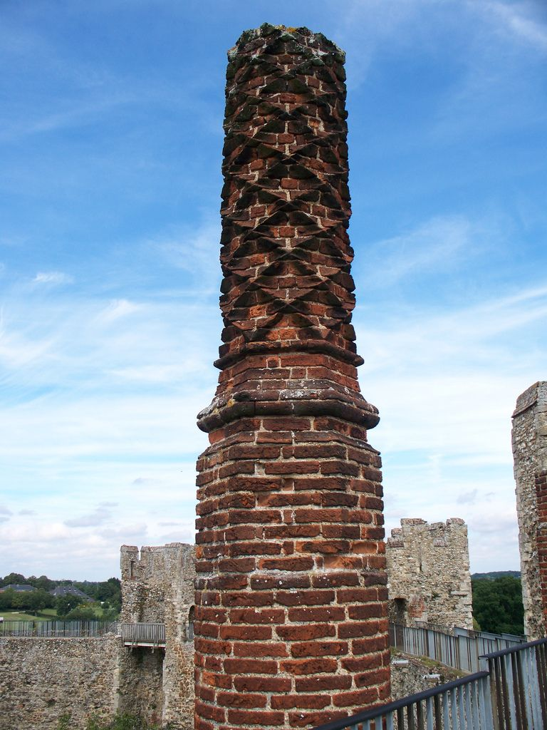 carved-brick chimneys from the tudor period decorate the walls of