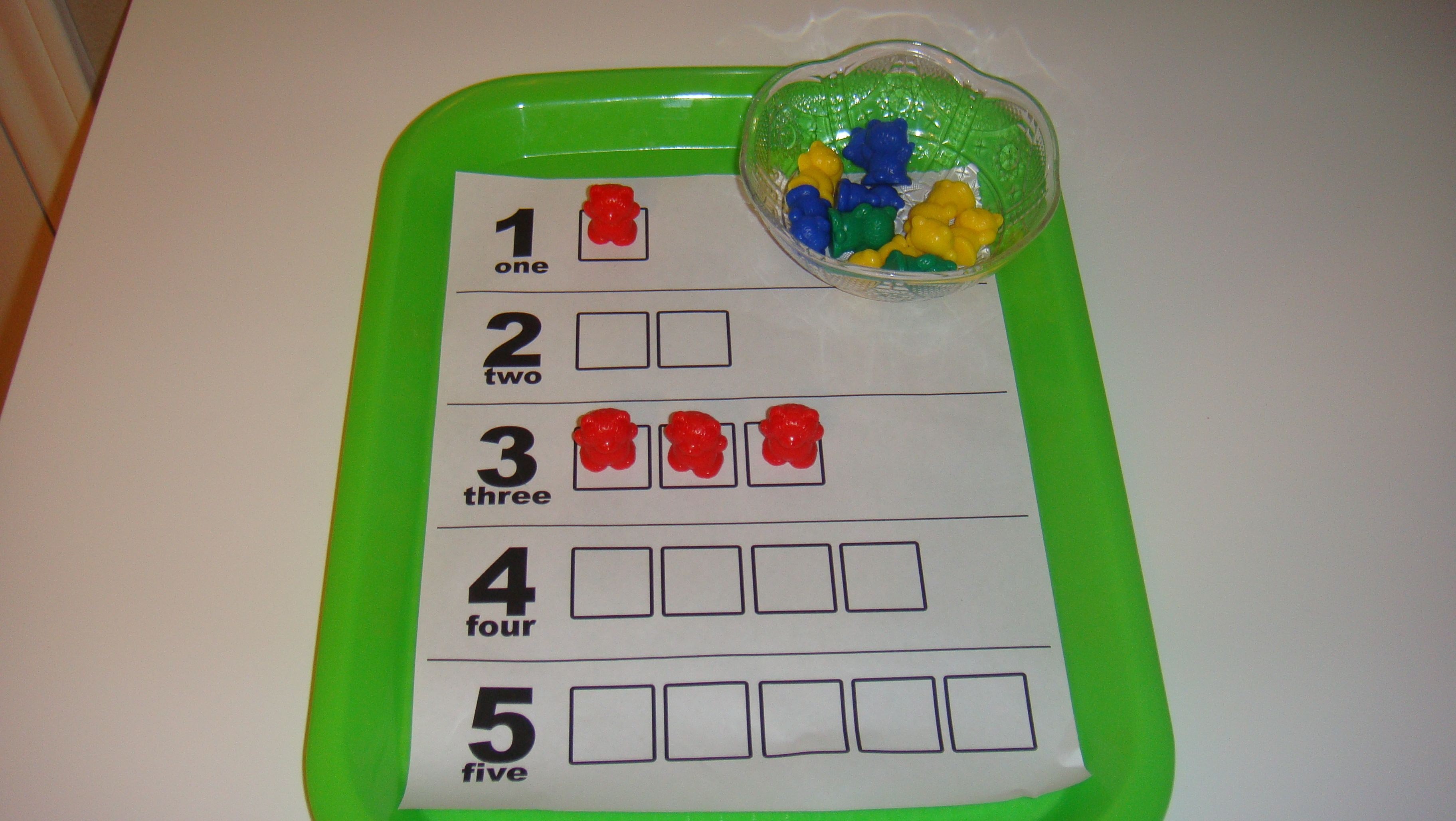 Toddler School Tray Number Matching Counting With Bear
