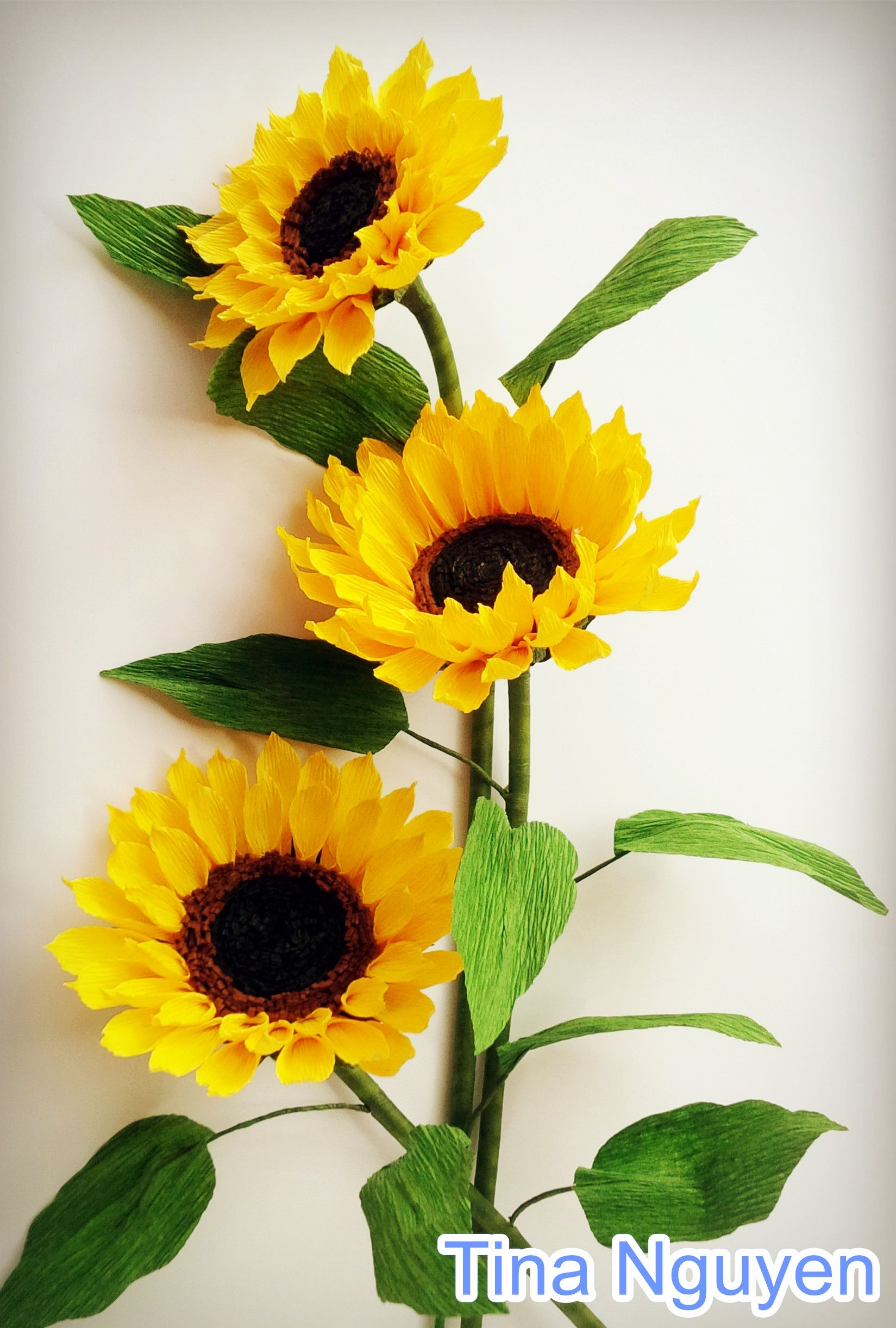 Sunflower Paper Flowers Craft Tutorial Crepe Paper Flowers
