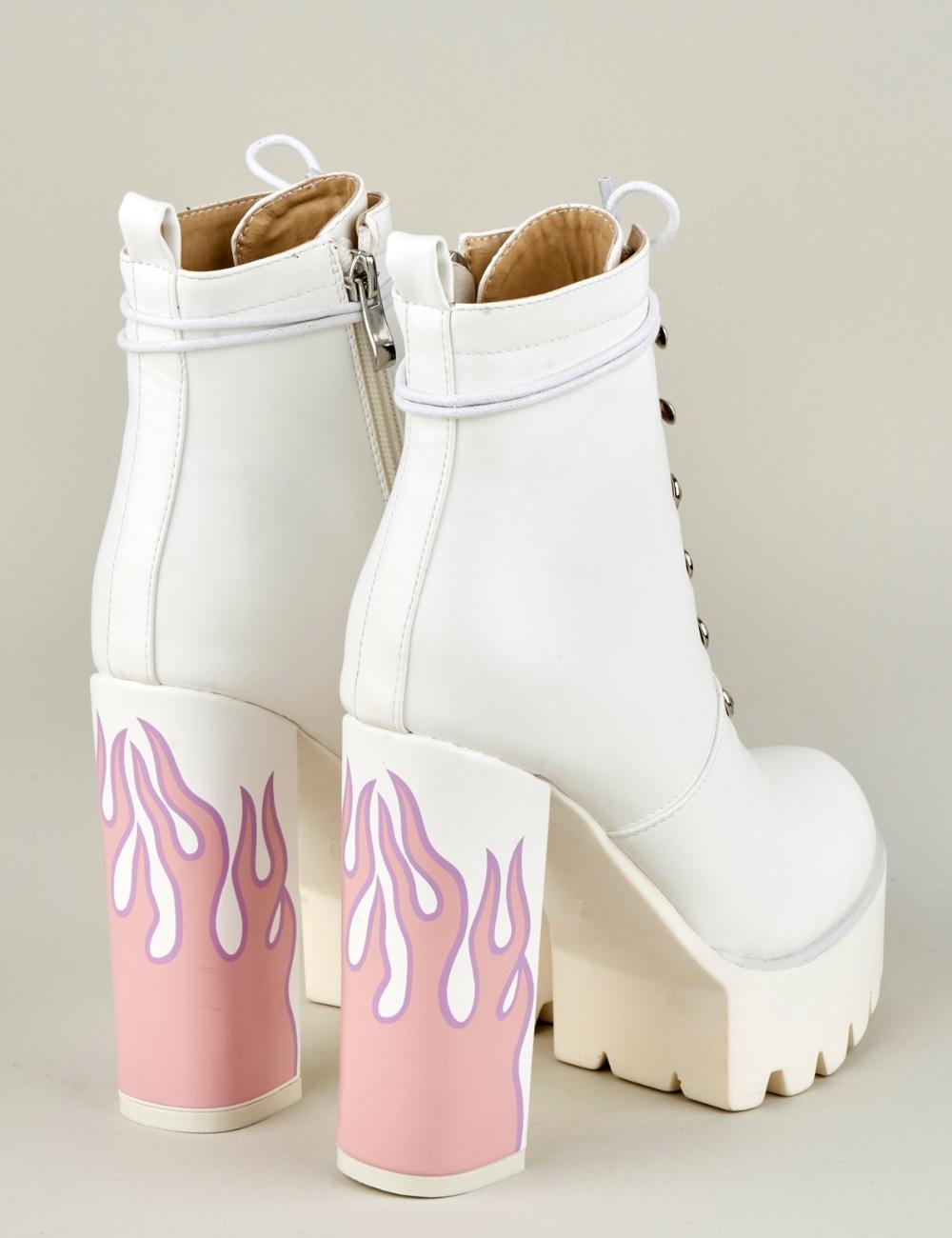 Hustler Platform Boots in White/Flame