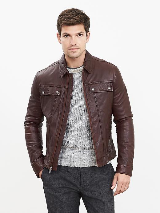05d897af3ee0 Cognac Genuine Leather Jacket