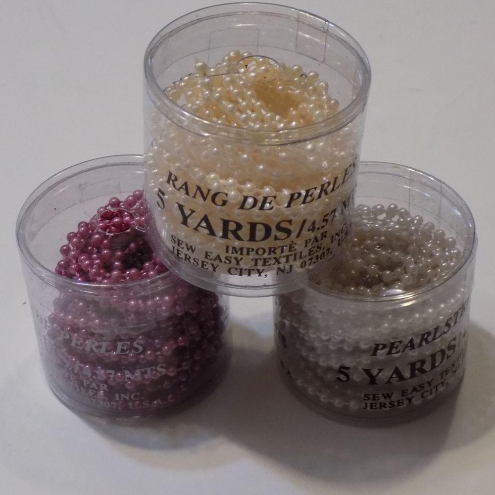 Mix Lot Of 3 Tubs 3mm Purple Lilac Peach Plastic Pearl Trim Crafting