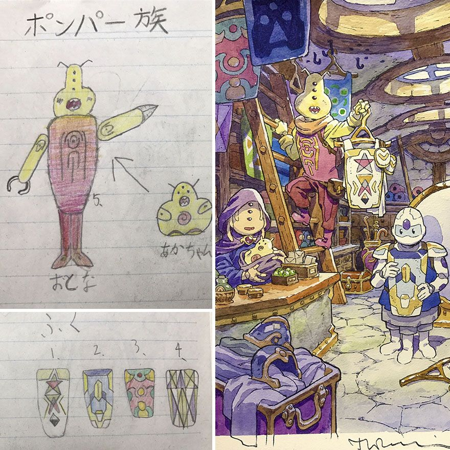 Dad Turns His Sons Doodles Into Anime Characters And The Result - Dad transforms his sons drawings into amazing anime characters