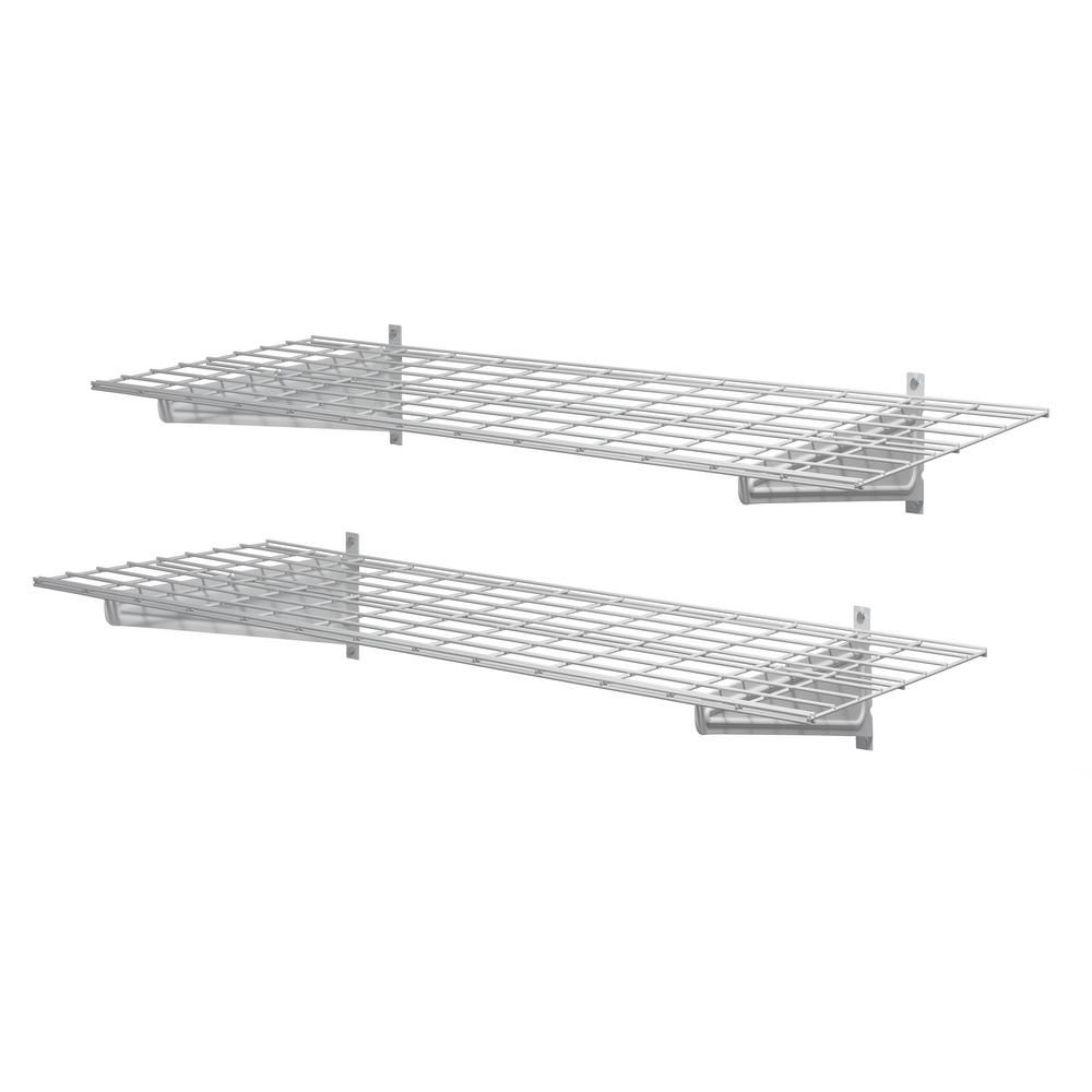 Muscle Rack 48 In W White Wire 2 Shelf Garage Wall Storage System Hws4818 2pkw The Home Depot Wall Storage Systems Garage Wall Storage Wall Storage