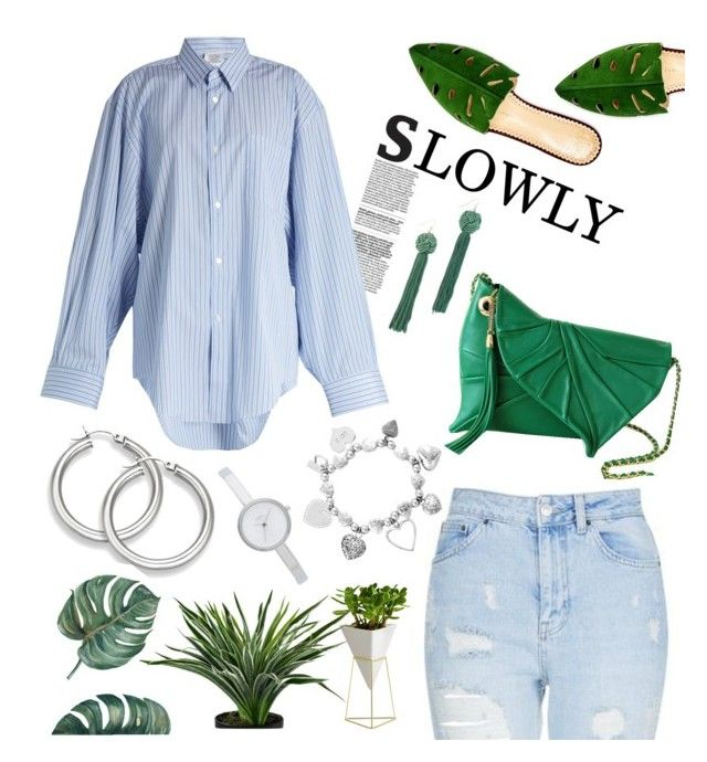 """""""Slowly"""" by felicitysparks ❤ liked on Polyvore featuring Topshop, Charlotte Olympia, DKNY, ChloBo, Vetements, Vanessa Mooney and Umbra"""