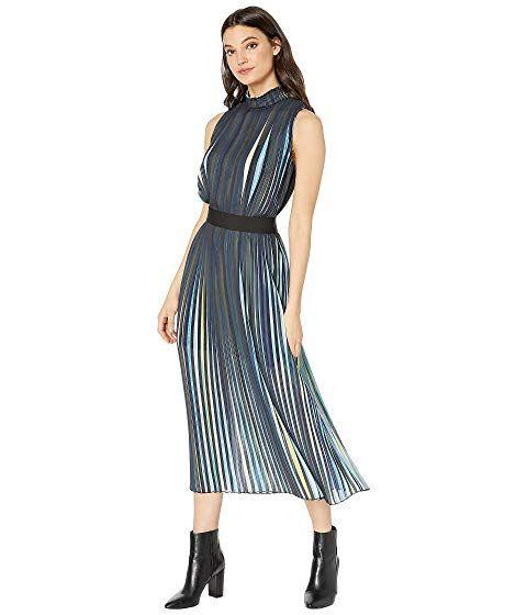 458792aa BCBGMAXAZRIA Rainbow Pleated Midi Dress at Zappos.com | bcbg shop in ...