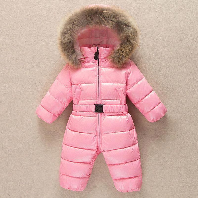 40b5b6c89 Baby girls snowsuit coat 90% white duck down hooded belt baby ...