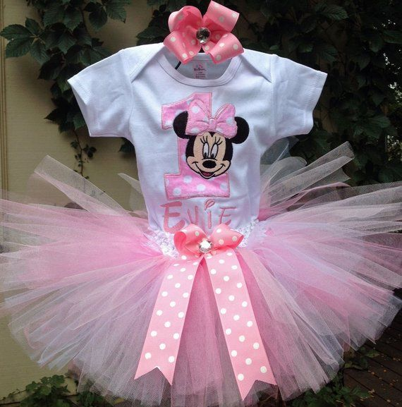 Minnie Mouse 1st Birthday Outfit.Minnie Mouse Pink 1st Birthday Outfit Onesie Tutu Free Hair