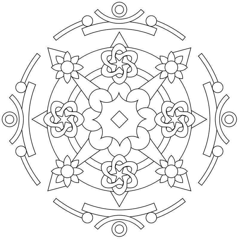 Mandala-Ausmalbild Nr. 11 | ТРАФАРЕТЫ | Pinterest | Mandala, Adult ...