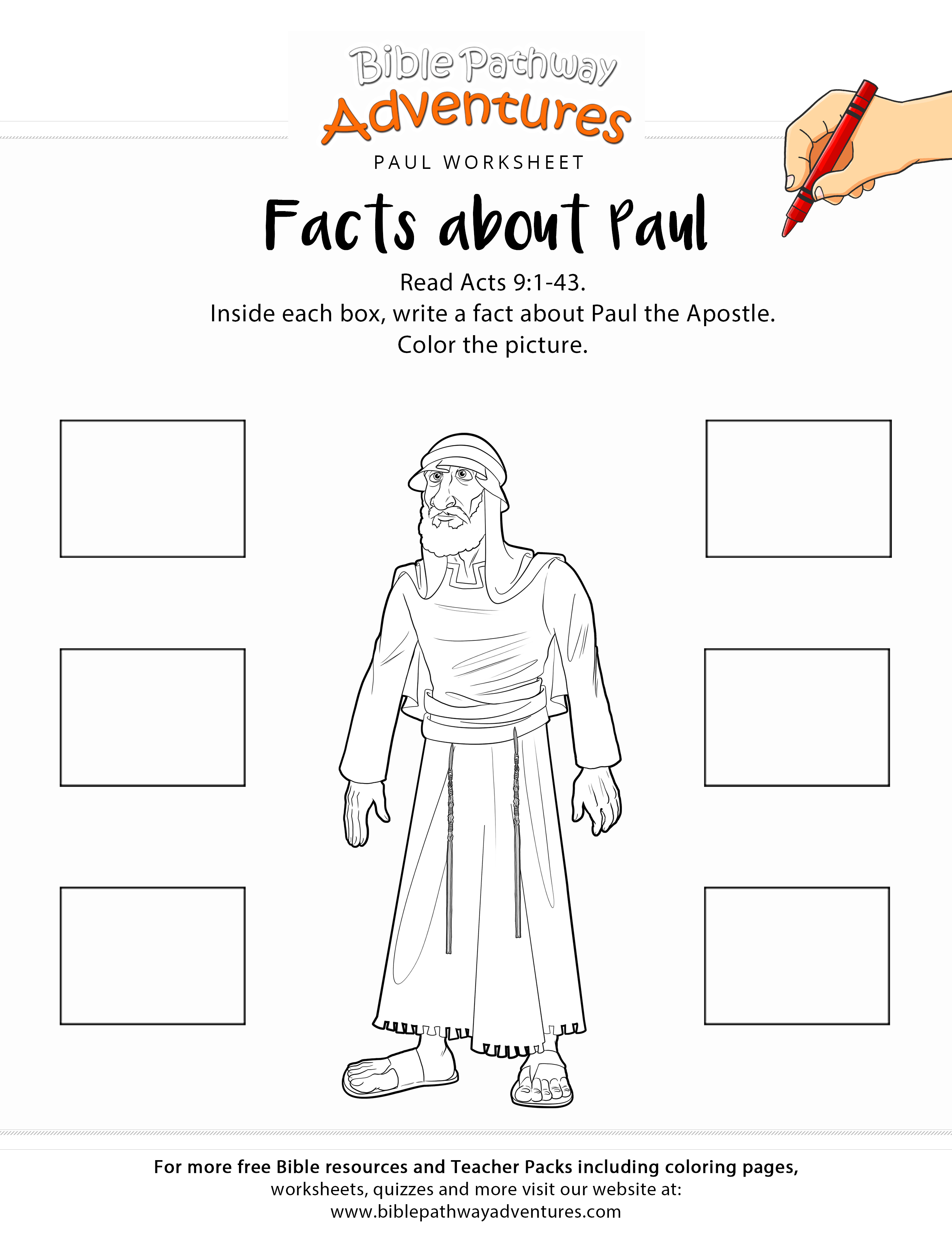 Free Bible Coloring Worksheet Facts About Paul Printable