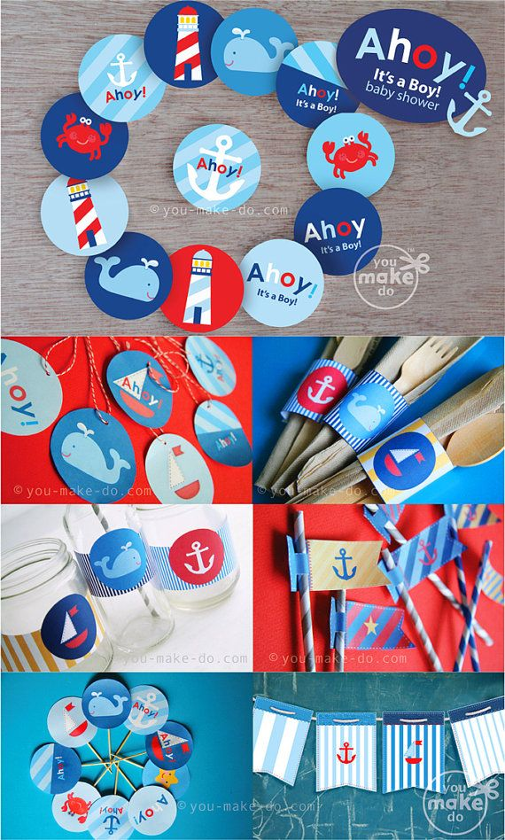 INSTANT DOWNLOAD Ahoy Itu0027s A Boy Nautical Baby Shower Decorations Party  Printables Lighthouse Crab Whale Sailboat Navy Red Light Blue Anchor