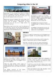 English Worksheets  Comparing cities in the Uk   English   Pinterest     English Worksheets  Comparing cities in the Uk