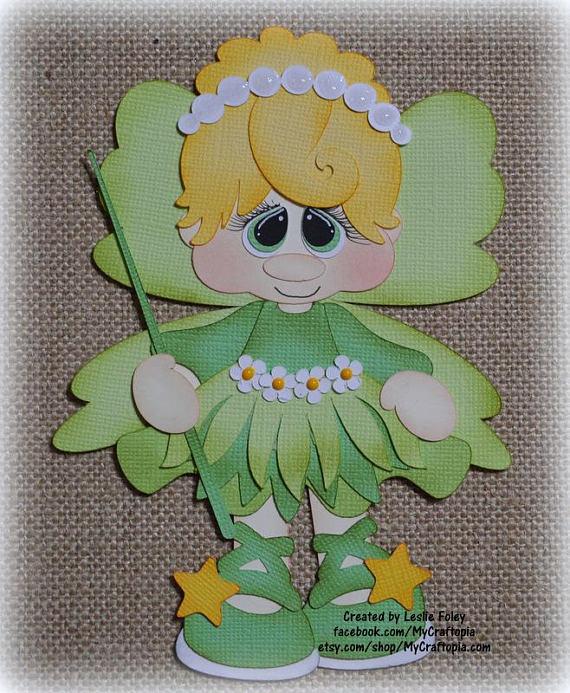 Disney Tinker Bell Premade Scrapbooking adorno papel Piecing