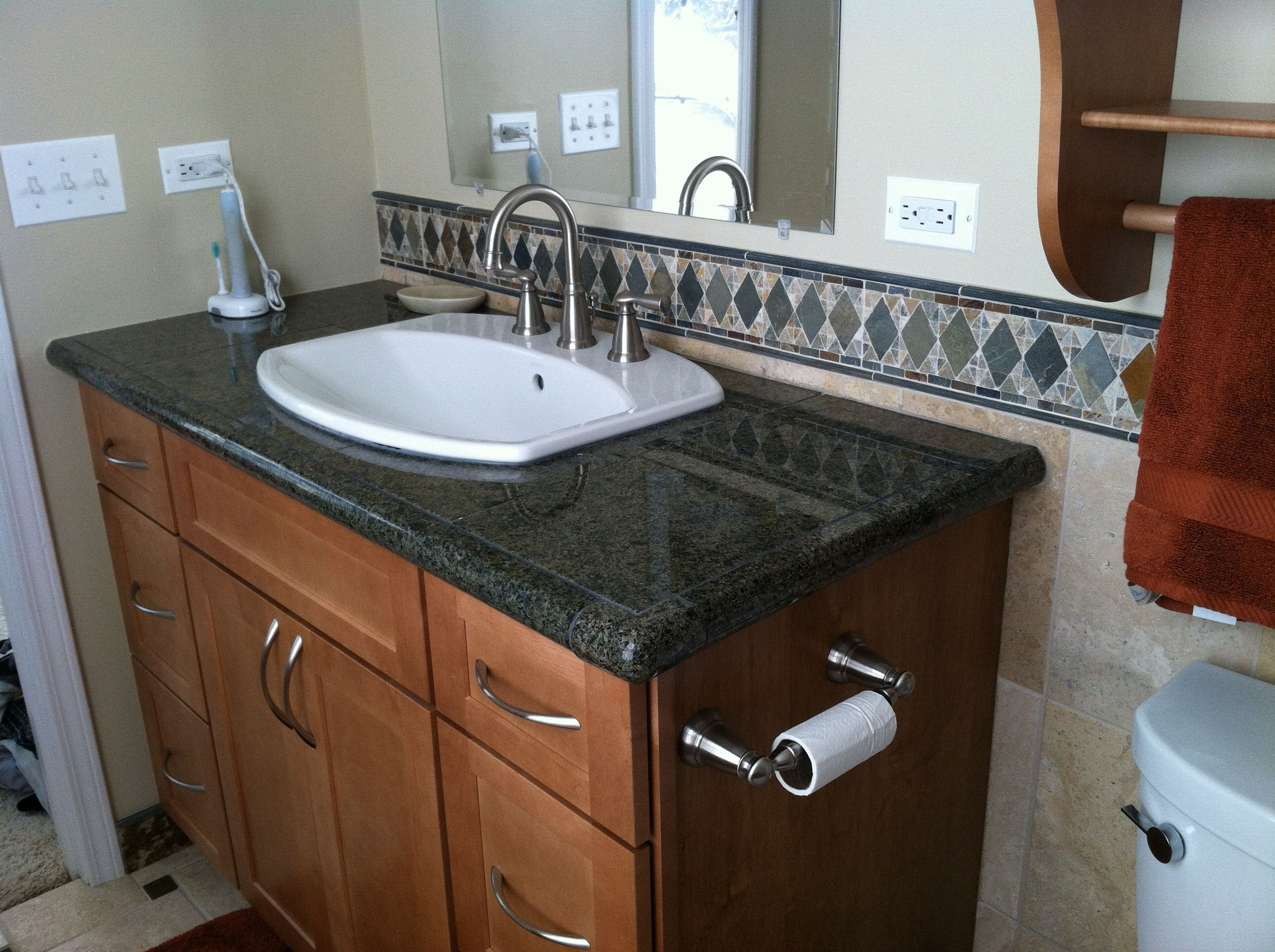 Drop In Bathroom Sink With Granite Tile Top Drop In Bathroom Sinks Granite Tile Sink