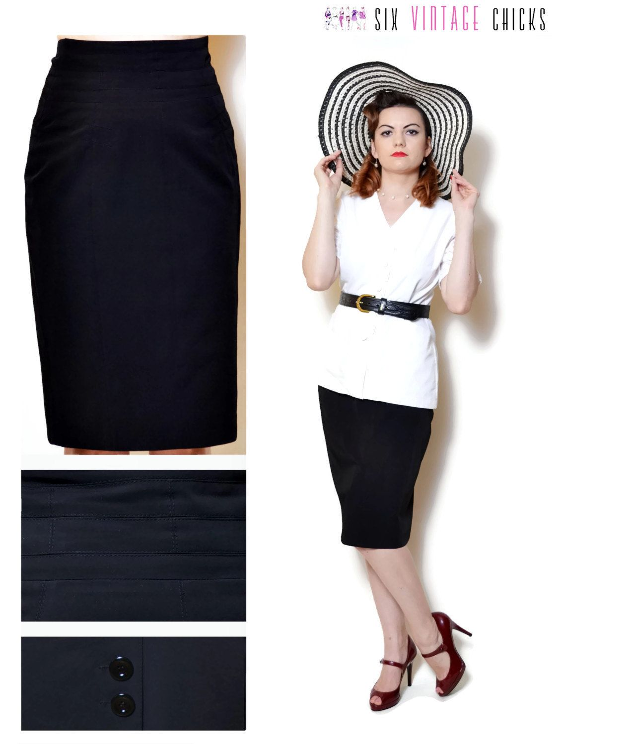 24af8c0b6 Pencil Skirt Women high waisted evening women clothing office clothes black midi  skirt 90s clothing vintage sexy gifts minimalist Size M by SixVintageChicks  ...