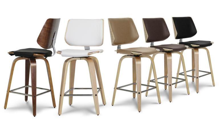 Tabouret de cuisine design avec pieds bois, assise 64 cm - Hambourg