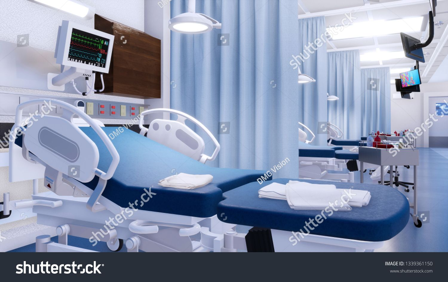 Closeup of empty hospital bed and various first aid