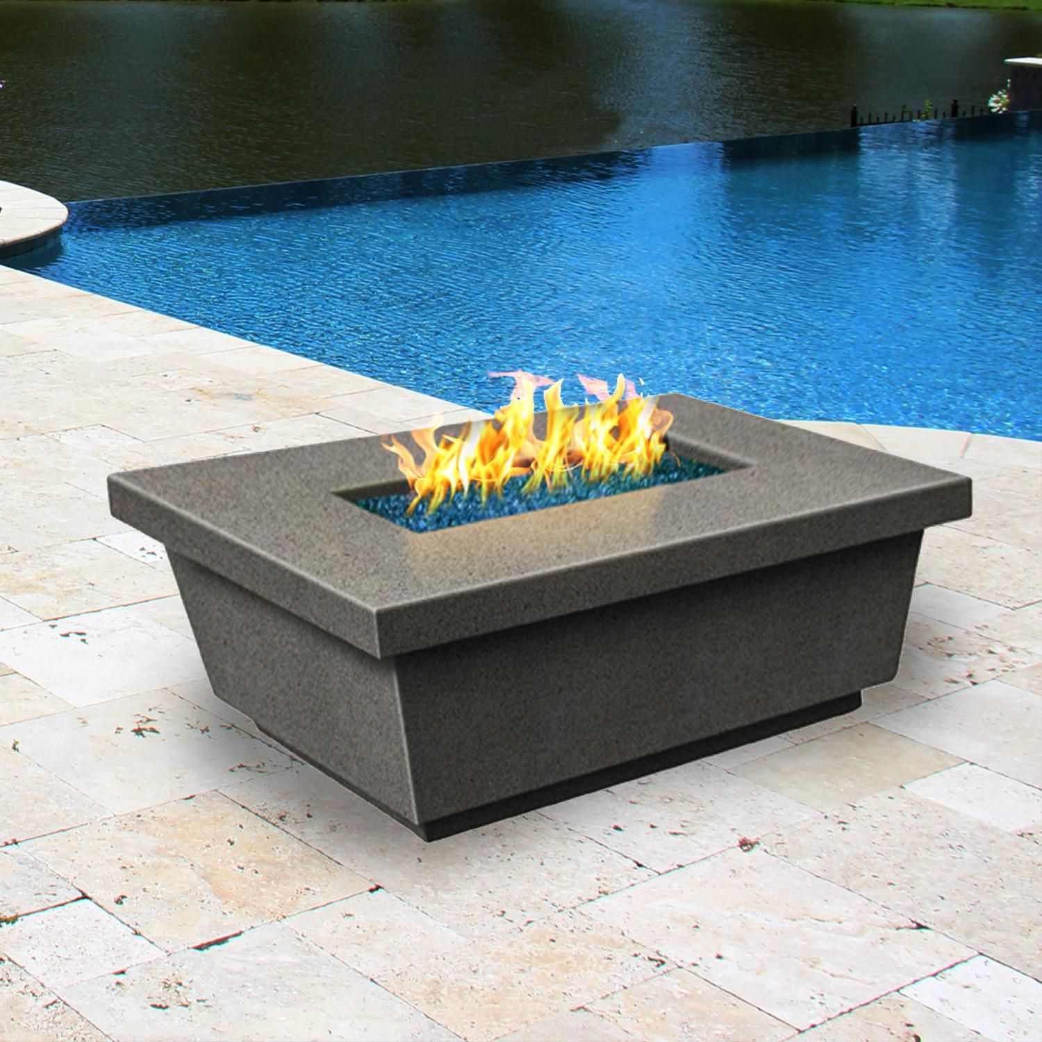 Contempo 52 Inch Rectangular Natural Gas Fire Table By American