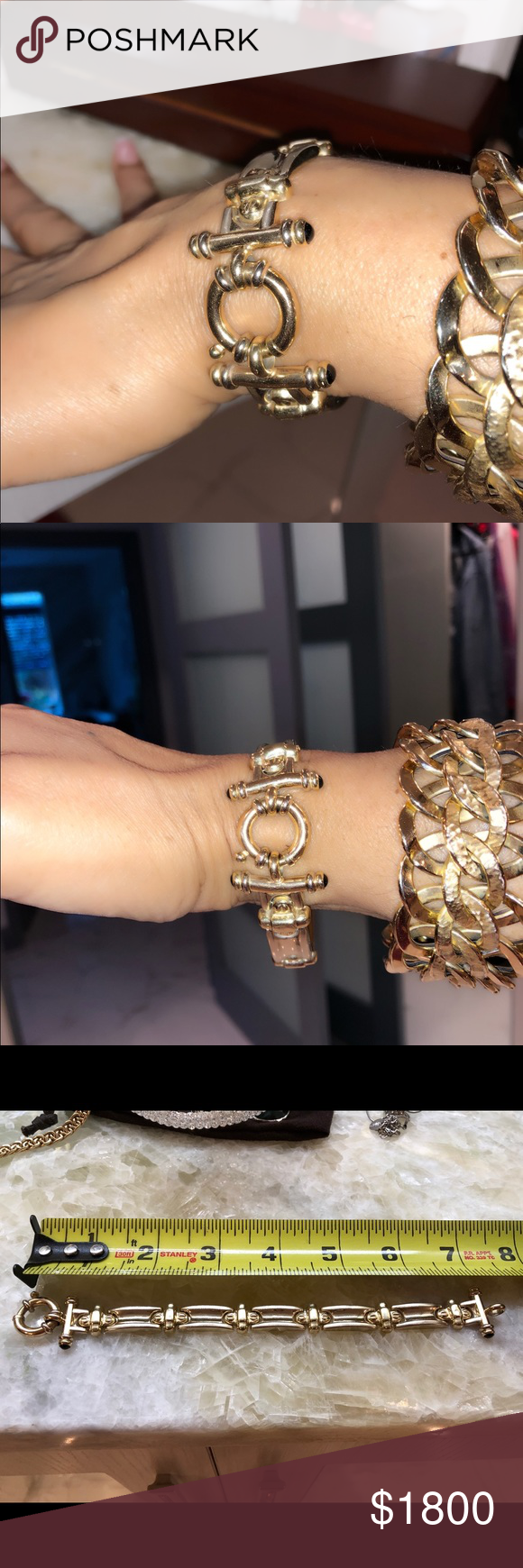 kt italian gold bracelet w sapphire cabochons my posh closet