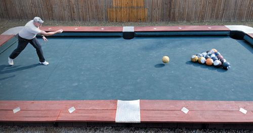 Perfect You Wonu0027t Believe This Life Size Backyard Pool Bowling Table