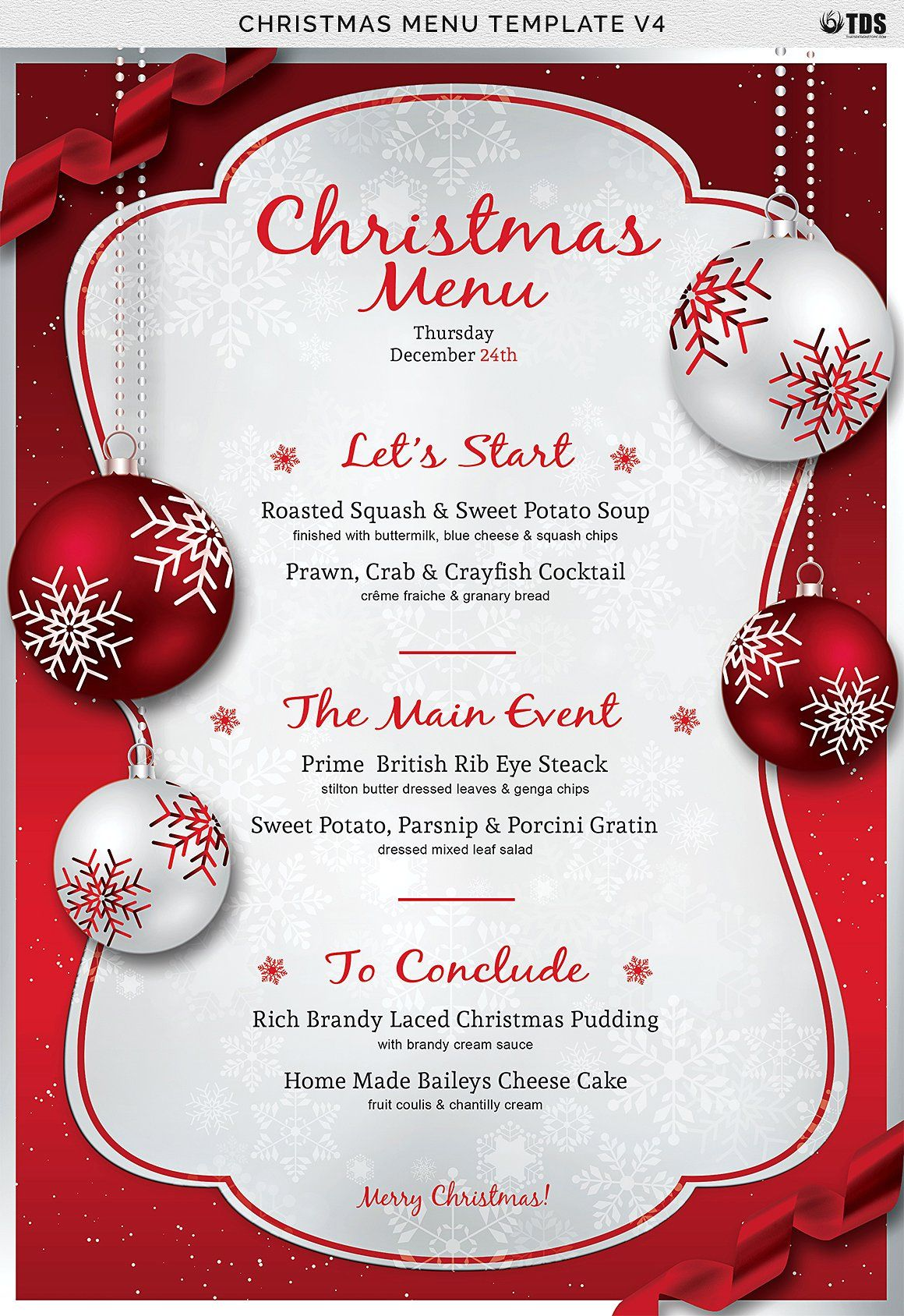 Christmas Menu Template V5  Christmas invitations template