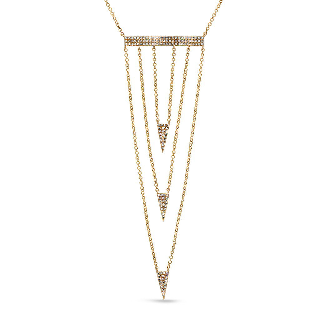 14k Solid Gold Triangle Necklace Shipping Worldwide Gold Necklace 2 Necklace Together Je Triangle Necklace Gold Triangle Necklace Gold Birthstone Necklace
